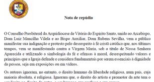 Conselho Presbiteral da Arquidiocese de Vitória: Nota de repúdio